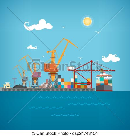 Clipart Vector of Cargo seaport , vector illustration.