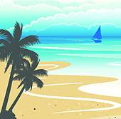 Clipart of Seashore Background k21505564.