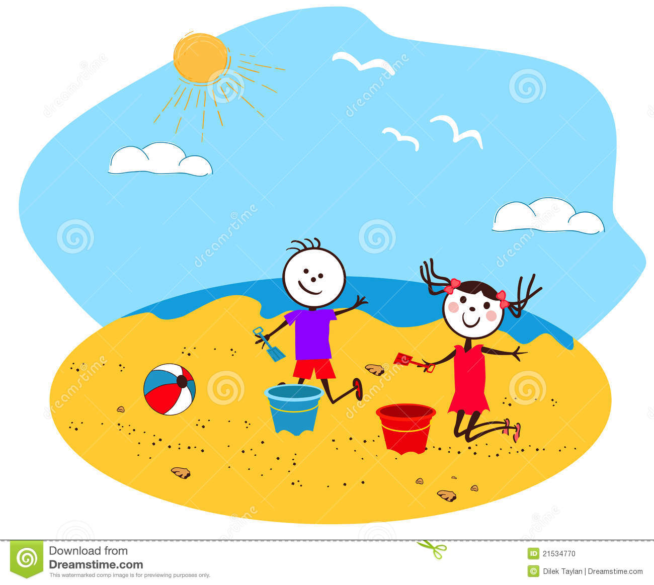 Children Playing Seaside Stock Illustrations.