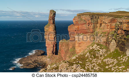 Stock Images of The Old Man of Hoy, sea stack on the island of Hoy.