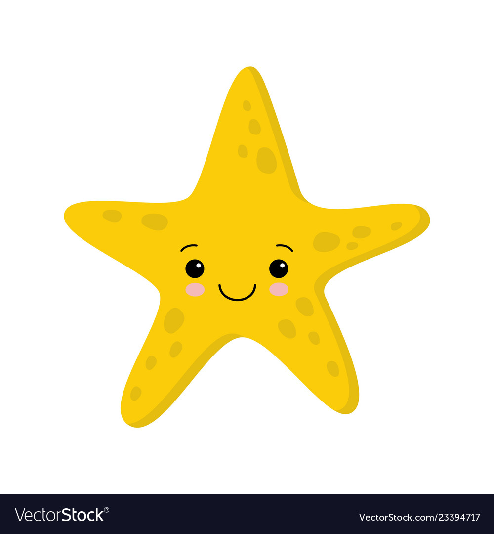 Smiling cute starfish flat style kawaii.