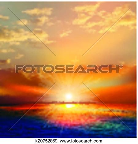Clip Art of abstract nature background with sea sunset and clouds.