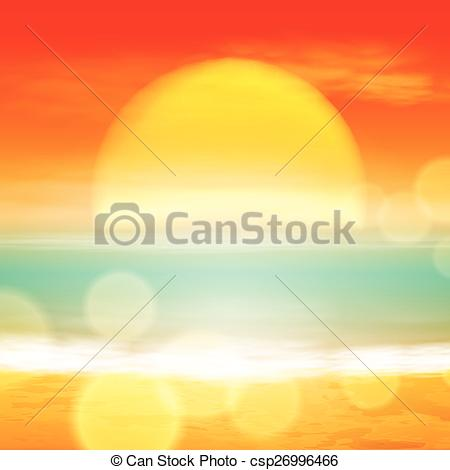 Clip Art Vector of Sea sunset with the sun, light on lens. EPS10.