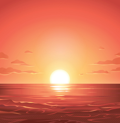 Sea sunset clipart.