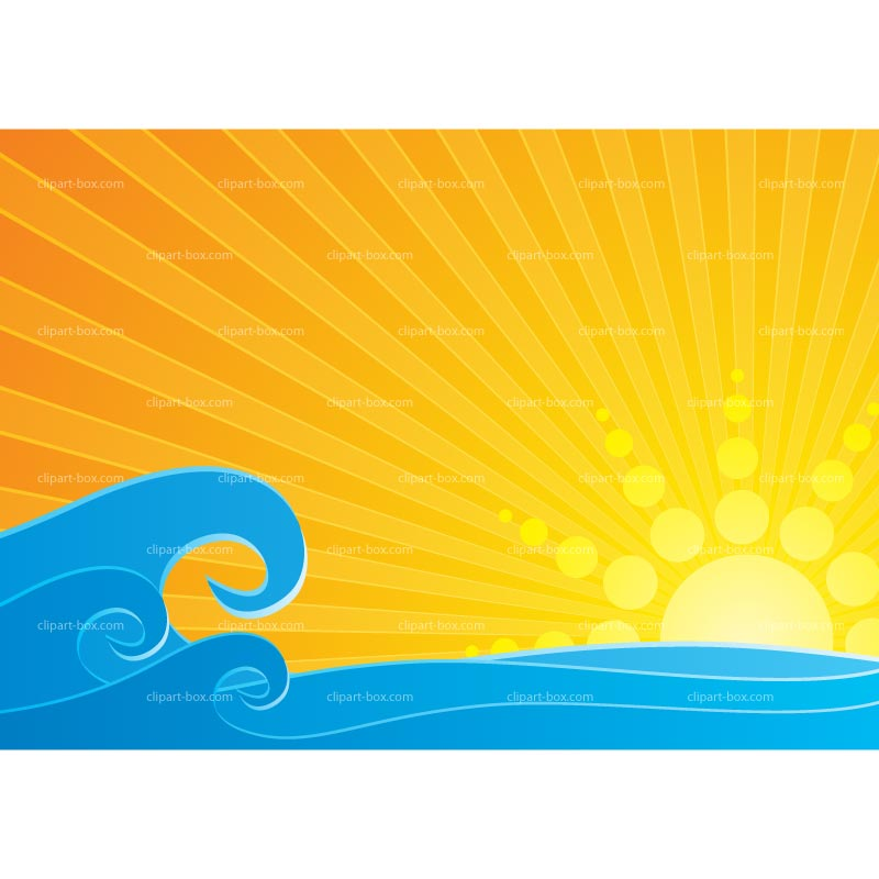 Sunset over water clipart.