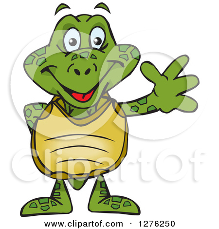 Clipart of a Cartoon Happy Sea Turtle Playing an Electric Guitar.