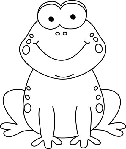 Cute black and white toad clipart.