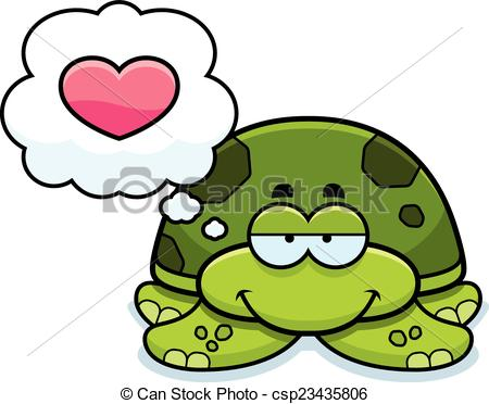 Vector Clipart of Little Sea Turtle in Love.