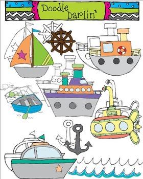 On The Sea Transportation Clipart COMBO.