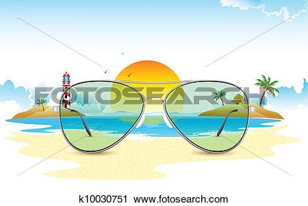 Clipart of Sea View through Sun Glasses k10030751.