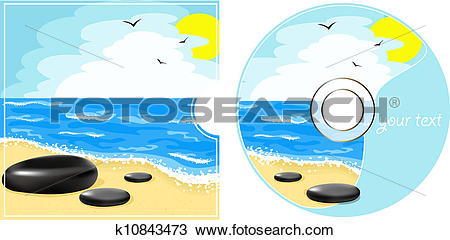 Clipart of CD label with a sea view k10843473.