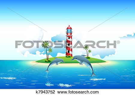 Clipart of Sea view with Dolphin and Lighthouse k7943752.