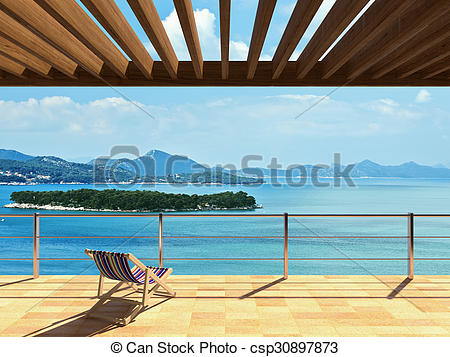 Stock Illustrations of Large terrace with loungers and beautiful.