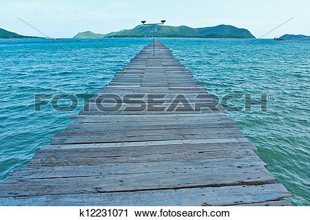 Stock Photography of Sea Views beautiful bridge in thailand.