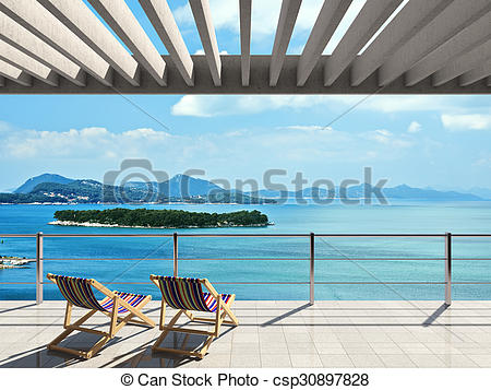 Clip Art of Large terrace with loungers and beautiful sea views.