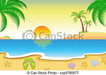 Vectors Illustration of Natural Beach View.