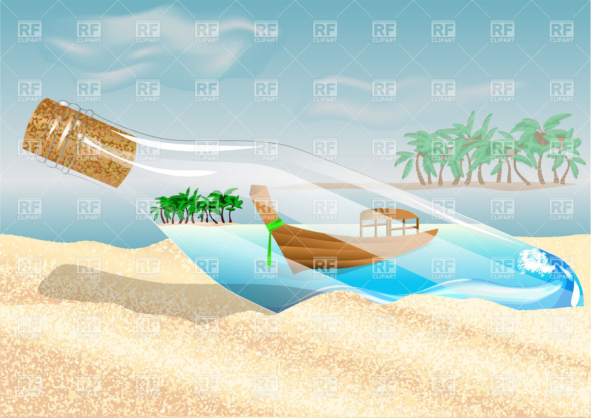 Bottle on the beach with boat and sea views inside Vector Image.