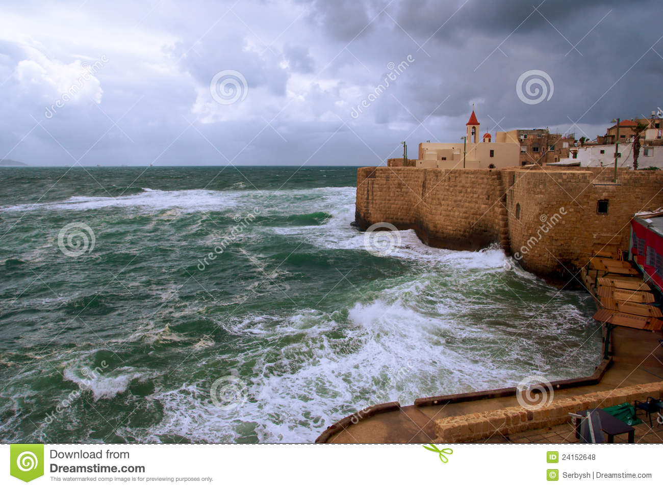 Acre Sea Wall, Israel Royalty Free Stock Photos.