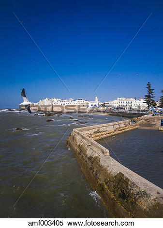 Stock Image of Morocco, Essaouira, Sqala de la Kasbah, sea wall of.