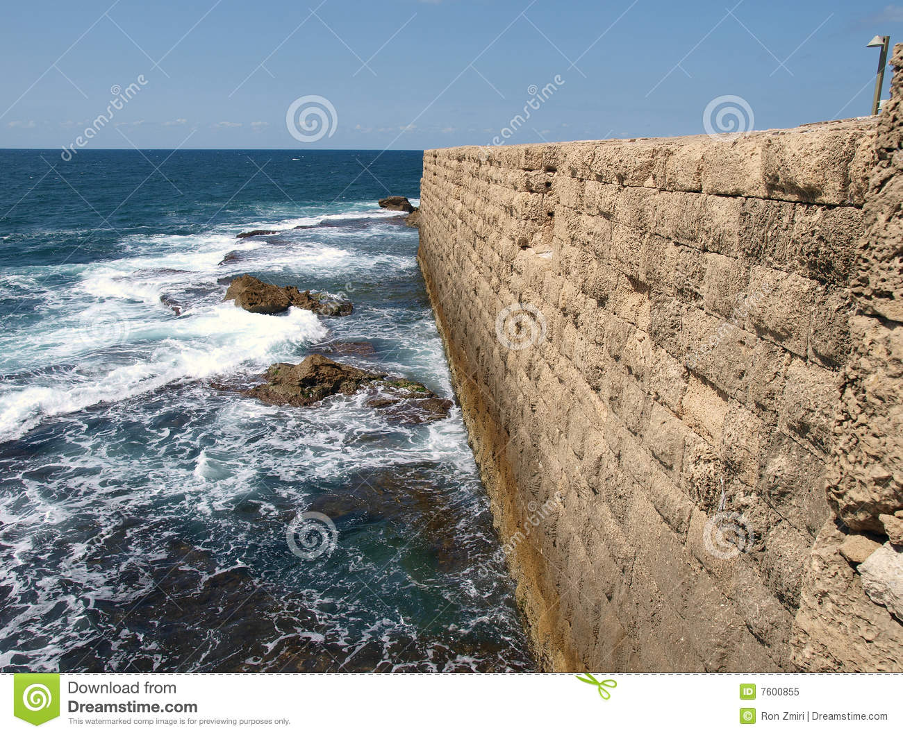 Acre Sea Wall Stock Photo.