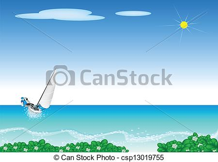 Clipart Vector of A Small Sail Boat Blasting Through A Sea.