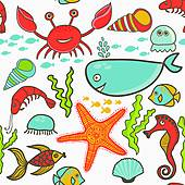 Clip Art of marine seamless pattern, endless texture of sea world.
