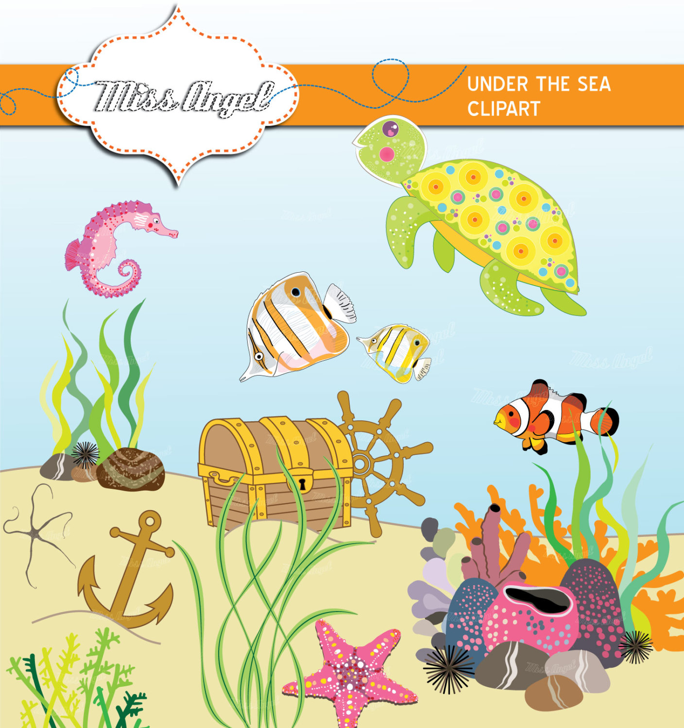 Sea world animals and corals clipart hd.