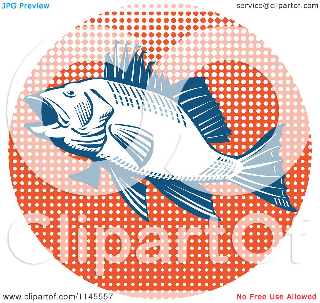 Clipart of a Retro Sea Bass Fish over Orange Halftone.