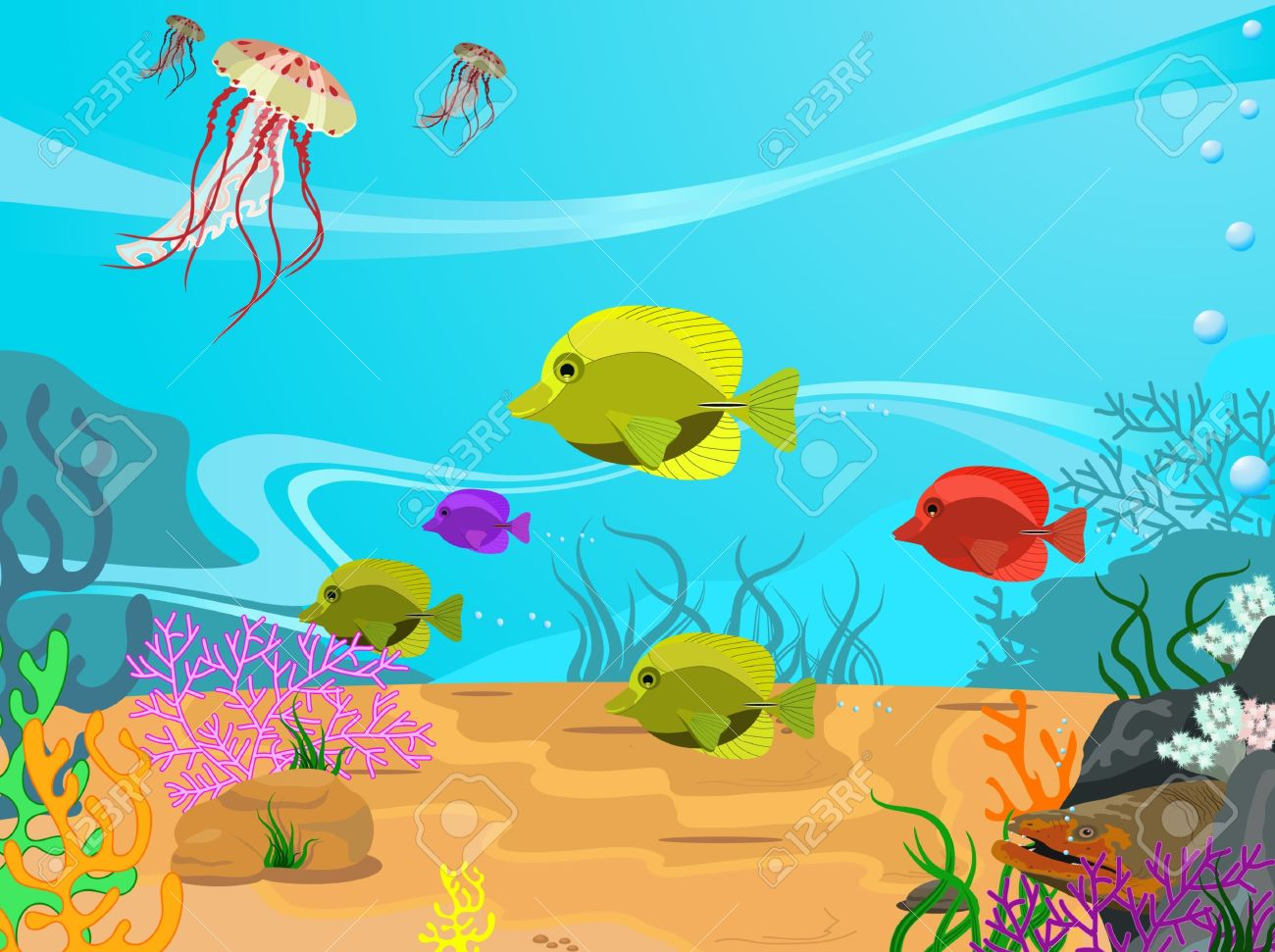 Illustration Of The Seabed And Its Inhabitants Royalty Free.