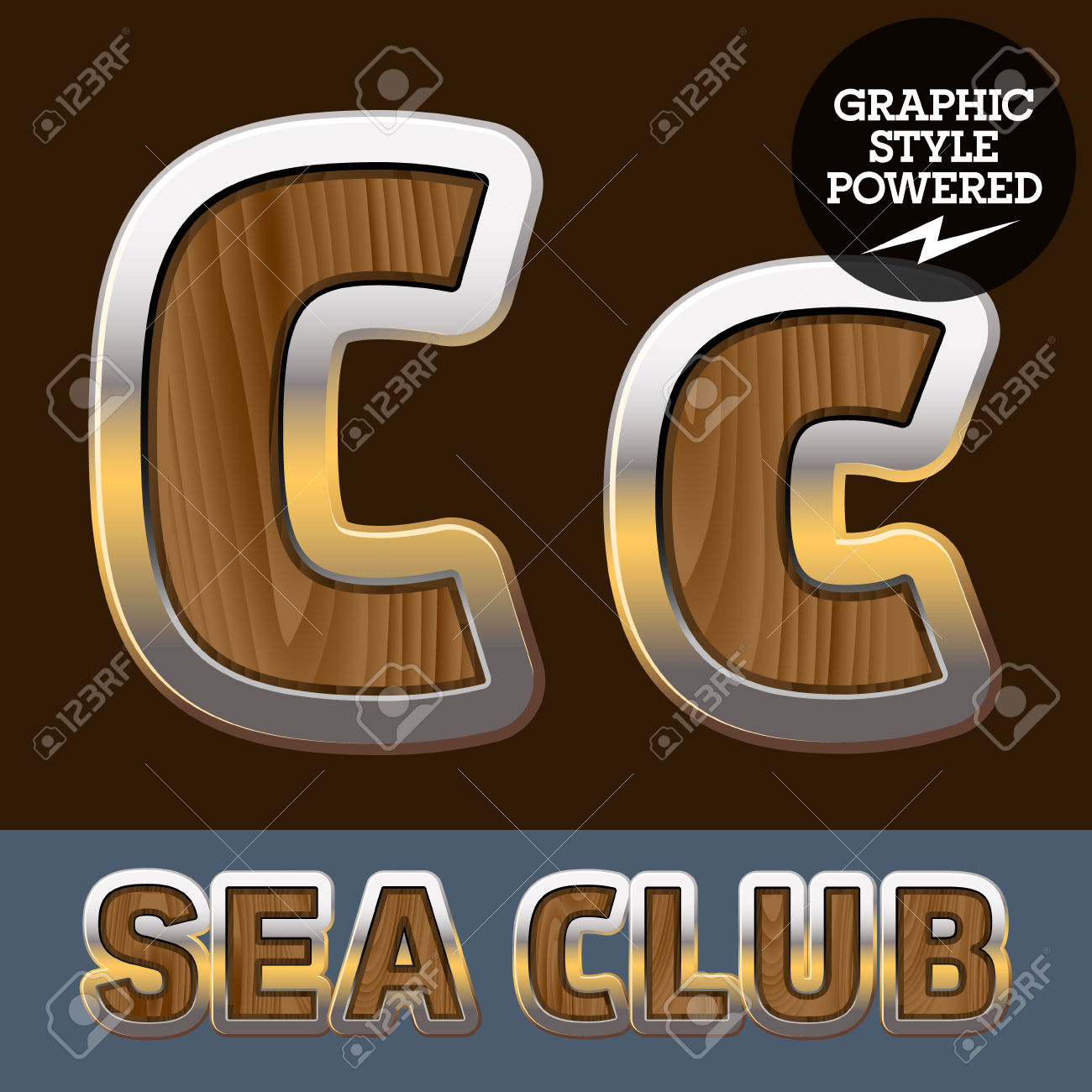 Vector Set Of Elite Old Styled Font In Sea Club Theme. Letter.