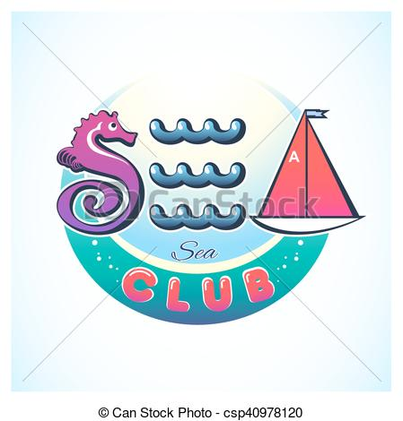 Vector Illustration of Sea Club Logo Circle.