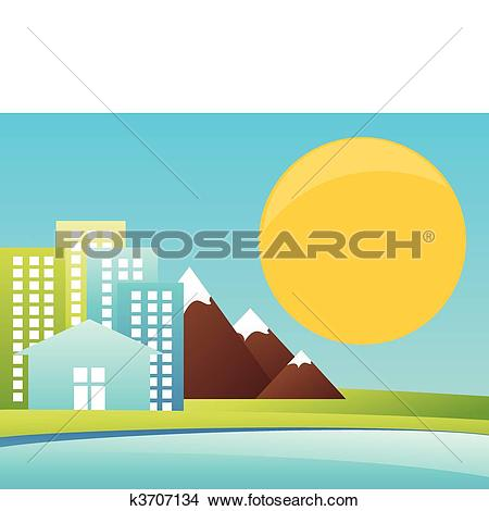 Clipart of City in mountains on seacoast. A vector illustration.
