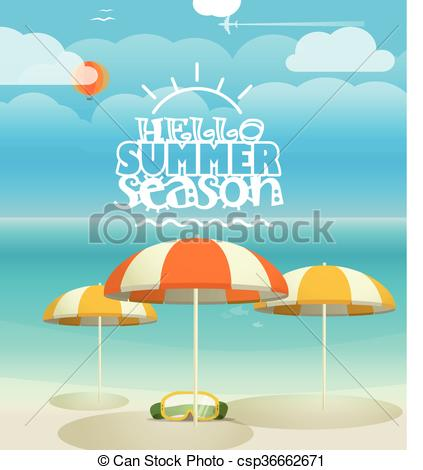 Vectors Illustration of Summer seaside vacation illustration.