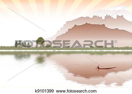 Stock Illustration of landscape with boat and seacoast k9101399.