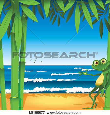 Clip Art of frog on sandy to seacoast k8168877.