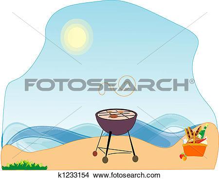 Drawings of Belongings to picnic, on seacoast. k1233154.