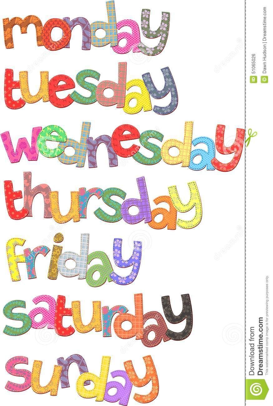 Days Of The Week Sunday Clipart.