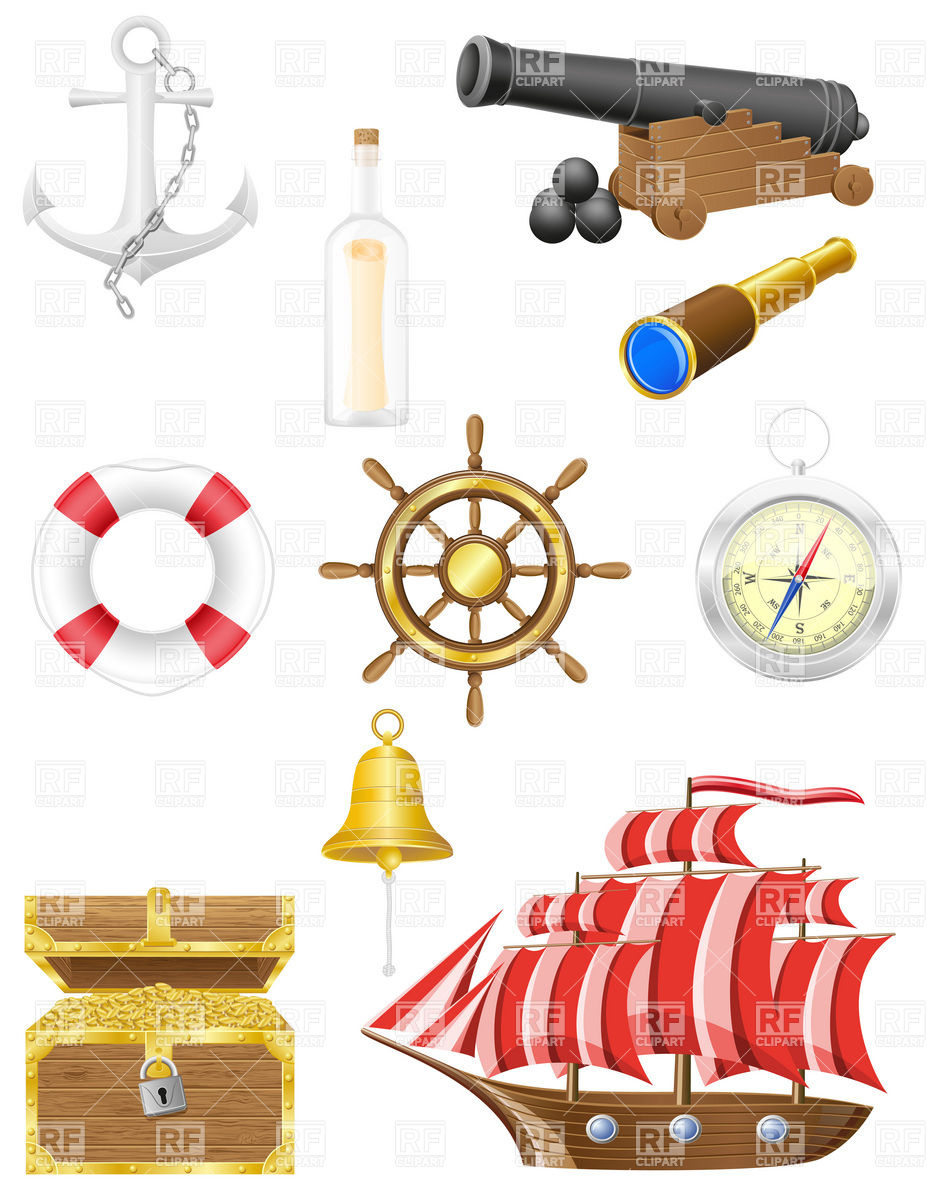 Antique nautical and seafaring objects icons Vector Image #19887.