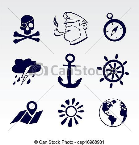 Vectors of Seafaring icons set. EPS 8 csp16988931.