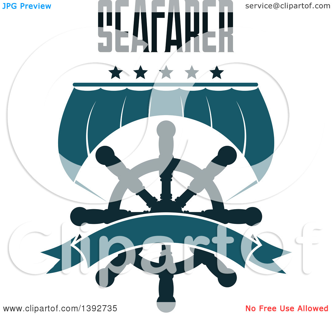 Clipart of a Boat Sail and a Helm with Stars, Seafarer Text and a.
