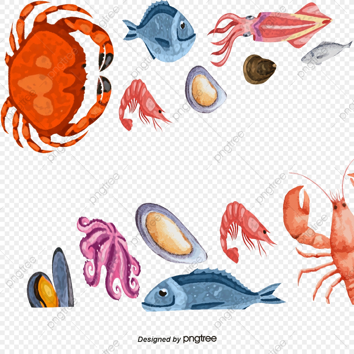 Seafood Border Background, Seafood Feast, Lobsters, Crab PNG.