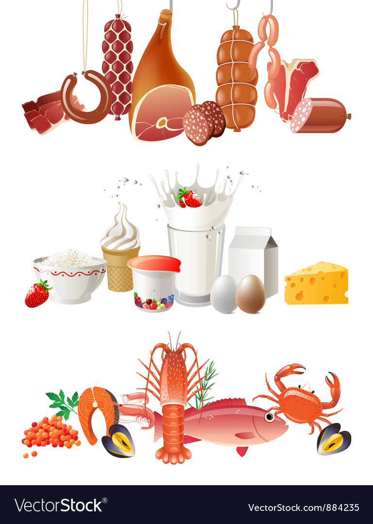 Milk meat and fish borders.