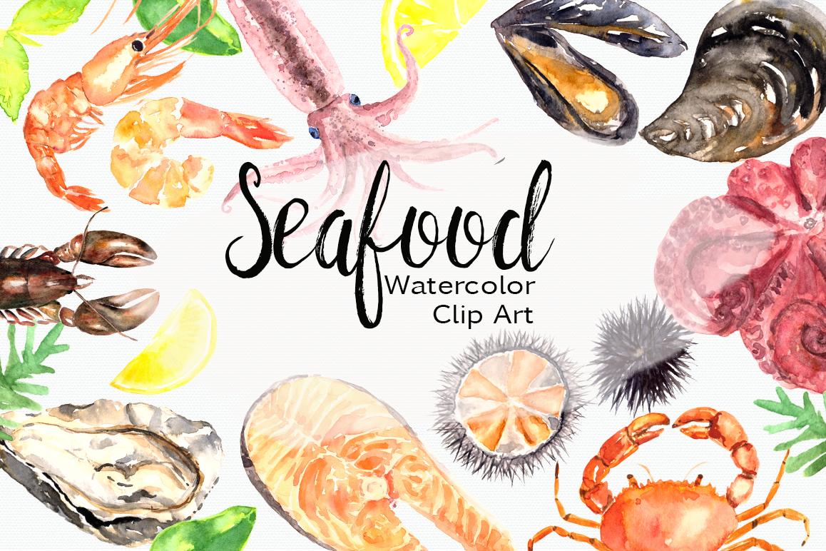 Watercolor Seafood Clip Art Set.