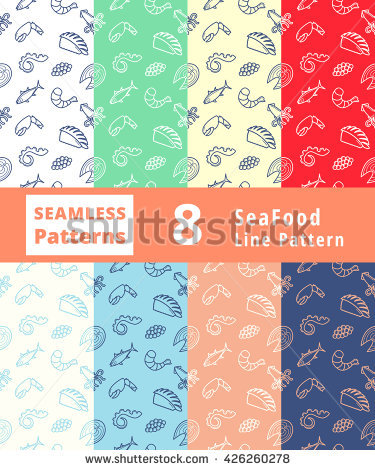 Seafood Pattern Icon Vector Clip Art Object Logo Emblem Sign Line.