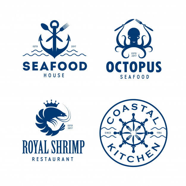 Seafood related logo set. Vector.