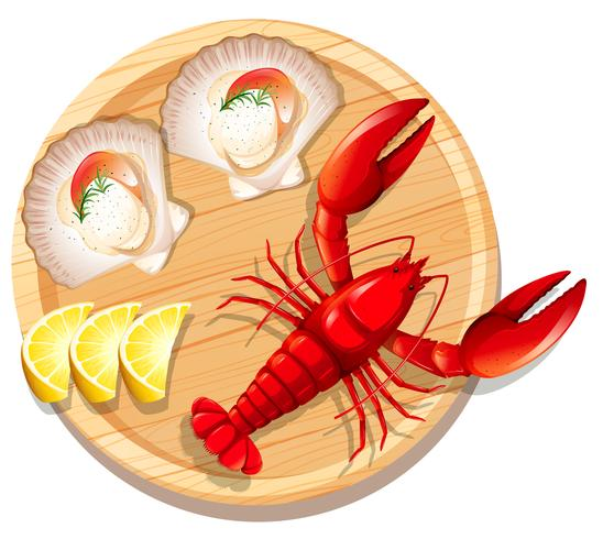 A seafood plate with lobster and scallop.