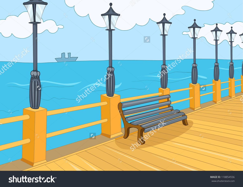 Seafront Harbor Cartoon Background Vector Illustration Stock.