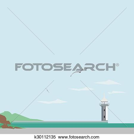 Clipart of Lighthouse on the seafront of Yalta k30112135.