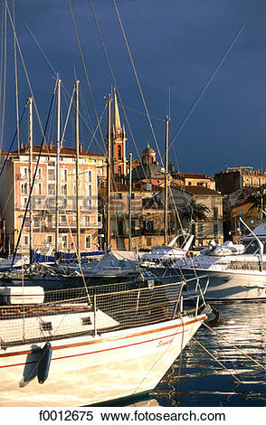 Stock Image of Corsica, Calvi, harbour and seafront f0012675.