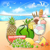Drawing of pineapple, summer, fruit, beach, sea, grape, season.